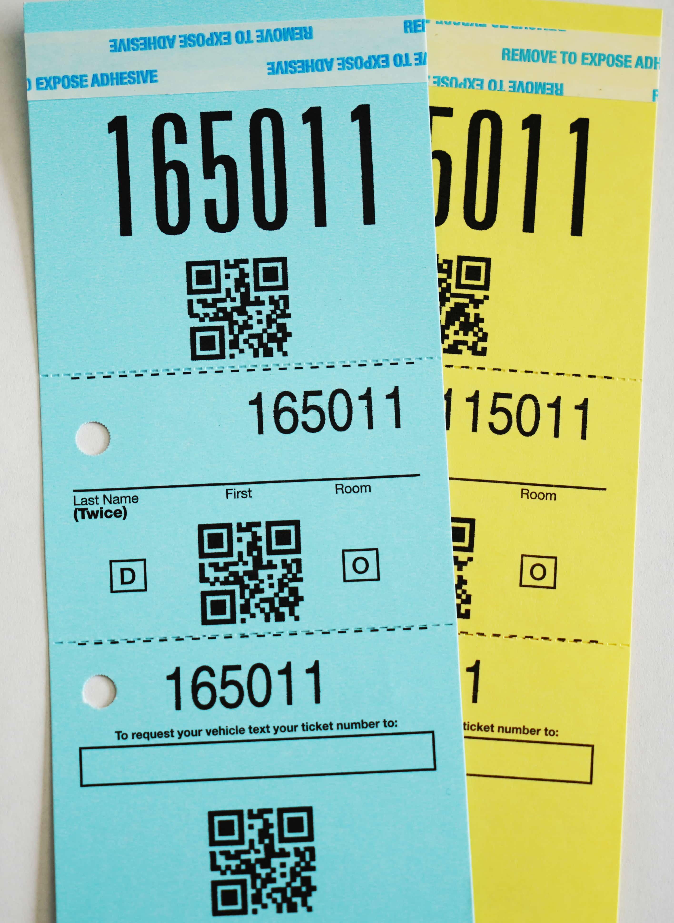 Valet ticket