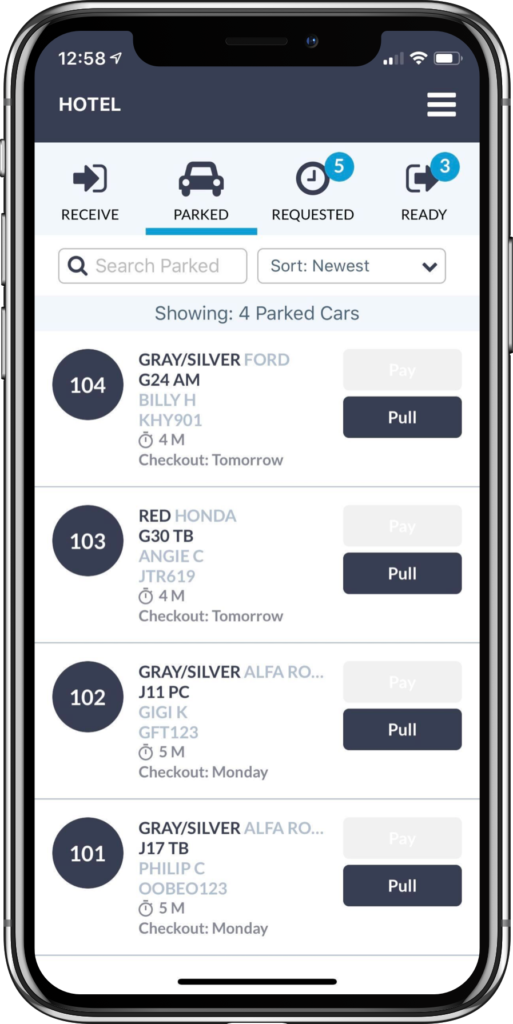 Hotel valet app