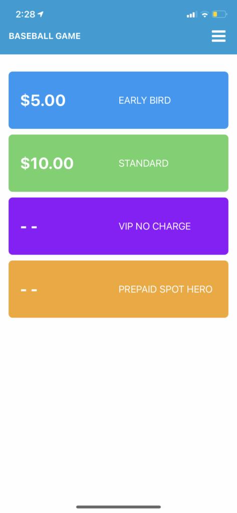 event parking app